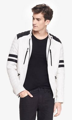 quilted (minus the) leather system biker jacket