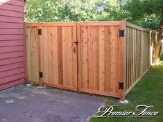 wood fence gate privacy fence double gate sagging privacy framed double wooden f Wooden Fence Gate, Wood Privacy Fence, Privacy Fence Designs, Fence Doors, Cedar Fence, Fence Panels, Wood Fences, Picket Fences, Diy Fence