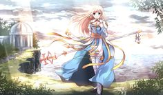 Anime picture 				2136x1254 with  		ragnarok online 		archbishop 		risutaru 		long hair 		single 		blush 		blue eyes 		looking at viewer 		highres 		wide image 		blonde hair 		smile 		fringe 		sunlight 		wind 		alternate costume 		sunbeam 		nature 		girl 		thighhighs