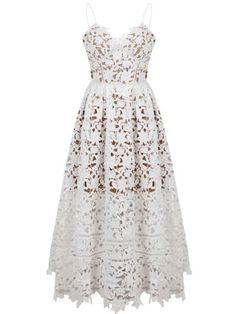 White Spaghetti Strap Backless Lace Crochet Dress