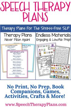Speech therapy plans address articulation and language! Includes no print, no prep, games, activities, crafts, book companions and more!