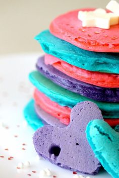 rainbow  Pancake Mix ( can even be shaped using cookie cutters)