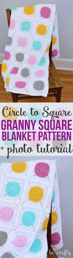 22b6a3a00 Circle to Square Granny Square Blanket - Free Pattern by. Háčkovaný MotívHáčkované  DekyHáčkované ...