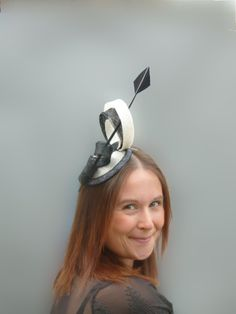 Ivory and Black Fascinator Cocktail Hat. Sinamay by SophieShields