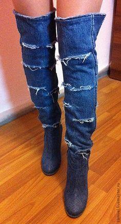 Купить Ботфорты Техас (рваные) - джинсовый стиль, джинсовая свадьба, джинса, джинсовая мода