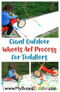 older 2 years olds. Giant Outdoor Painting for Toddlers. This process art toddler activity is perfect for 1 year olds, 2 year olds and 3 year olds. A great outdoor summer activity for toddlers. Outdoor Summer Activities, Outdoor Activities For Toddlers, 3 Year Old Activities, Motor Skills Activities, Infant Activities, Fun Activities, Activity Ideas, Easy Toddler Crafts, Toddler Snacks