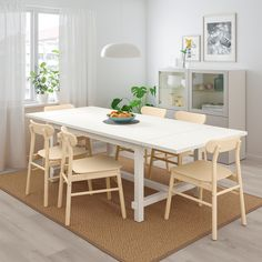 IKEA NORDVIKEN / RONNINGE White, Birch Table and 4 chairs Farmhouse Dining Room Table, Dining Room Table Decor, Table And Chairs, Ikea Dining, Dining Nook, Kitchen Tables, Chaise Ikea, Ikea Canada, Table Extensible
