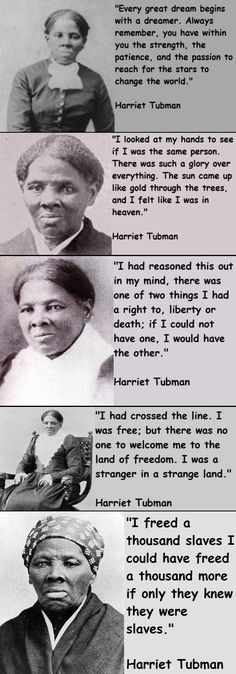 "Harriet Tubman became famous as a ""conductor"" on the Underground Railroad during the turbulent 1850s. Born a slave on Maryland's eastern shore, she endured the harsh existence of a field hand, including brutal beatings. In 1849 she fled slavery, despite a bounty on her head, she returned to the South at least 19 times to lead her family & hundreds of other slaves to freedom via the Underground Railroad. Tubman also served as a scout, spy and nurse during the Civil War. #tubman"
