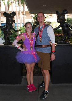 Princess Rapunzel and Flynn Rider running costumes, from Tangled, for disneyland half marathon!!!! Complete with a little Pascal! Run Disney.