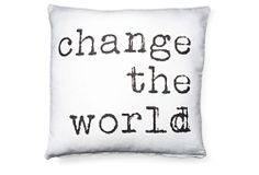 """The World"" 20x20 Pillow, White 