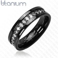 Black and CZ Stone Band Ring Solid Titanium