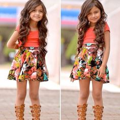 Flower-Baby-Girls-Dress-Short-Sleeve-Tops-T-Shirt-Skirt-Outfits-Set-Clothes-2-8Y