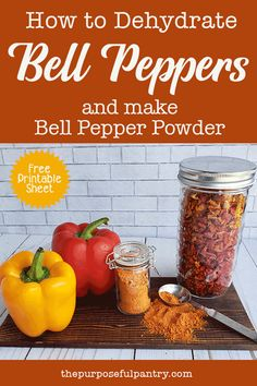Learn to dehdydrate bell peppers at their peak, and save them for all year long. Bonus is learning to make your own Mock Paprika from them! Dehydrated Vegetables, Dehydrated Food, Paprika Recipes, Canned Food Storage, Freeze Drying Food, Homemade Spices, Homemade Seasonings, Dehydrator Recipes, Canning Recipes