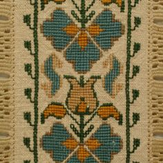 Ritual towel of heavy linen embroidered on both end with four arches enclosing flowers; Embroidery Stitches, Hand Embroidery, Cross Stitch Bookmarks, Color Harmony, Art N Craft, Filet Crochet, Cross Stitching, Needlepoint, Needlework
