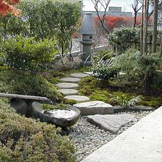 Ishigumi and Tsukubai, stepping stones and a hand washing basin, a part of the typical Japanese Garden.