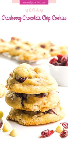 These yummy Cranberry Chocolate Chip Cookies will make your day!   There's a light crisp on the outside and soft and chewy on the inside. You'll love the rich flavors of cranberries with vegan white chocolate!    #cranberrywhitehocolate #cranberrycookies #vegancookies #namelymarly Vegan White Chocolate, Vegan Recipes, Snack Recipes, Pink Cookies, Cranberry Cookies, Vegetarian Snacks, Chocolate Chip Cookies, Finger Foods, Chips