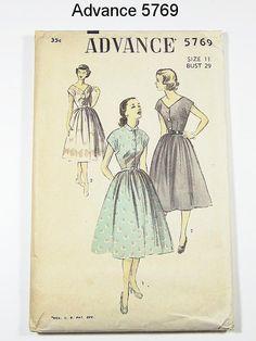 Vintage 50s Dress Pattern - Advance 5769 - Shirtwaist Dress With Full skirt - SZ 11/Bust 29 on Etsy, $18.00