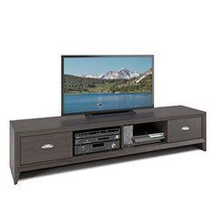CorLiving Lakewood Modern Wenge Finish Extra Wide TV Bench - Black