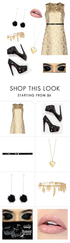 """""""Hufflepuff house party"""" by a-abraham-1 ❤ liked on Polyvore featuring Dolce&Gabbana, Steve Madden, Yves Saint Laurent and Forever 21"""