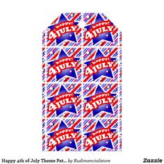 Happy 4th of July Theme Pattern Gift Tags