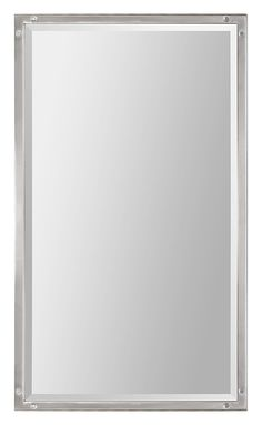 Contemporary Art Sites The Aviation mirror features a thin brushed nickel frame with decorative screw corners and a rectangular beveled mirror