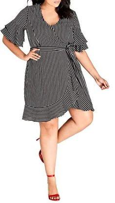 Plus Size Stripe Wrap Dress - Plus Size Fashion for Women  plussize Stylish Plus  Size 34a7b0a29e82