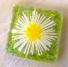 Daisy chain fused glass coaster £6.95