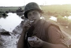 "¾ Cavalry soldier displays his ""Hershey's Tropical Chocolate"", 1968 Vietnam History, Vietnam War Photos, My War, Usmc, Marines, South Vietnam, American Civil War, American Pride, Historical Images"
