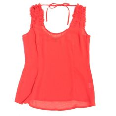 Red Sheer Ruffle Silky Chiffon Blouse S Never worn. Brand is Naked Zebra. New! Naked Zebra Tops Blouses
