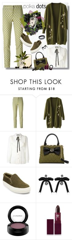 """""""Positively Polka Dots"""" by dkelley-0711 ❤ liked on Polyvore featuring Incotex, Gucci, Jo Malone, Betsey Johnson, Steve Madden, Dsquared2, MAC Cosmetics, Lipstick Queen and gucci"""