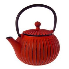 Cast-Iron-Teapot-with-Trivet-500ml-Ribbed-Red-Tetsubin-Japanese-Style