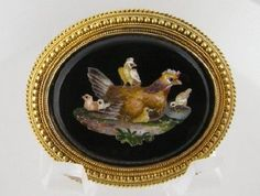 Antique 18 Kt Gold Museum Quality  MICRO MOSAIC Mother Hen & Chick Brooch