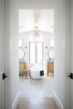 White Oak and Cement Tile Farmhouse Bathroom - more on Home Bunch blog