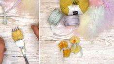 Hvordan lage påskekyllinger med gaffel og garn - Kreative Idéer Tassel Necklace, Tableware, Threading, Dinnerware, Tablewares, Dishes, Place Settings
