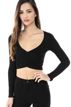 4a2fdf25da Salt Tree Women s Deep V-Neck Cut Ruched Front Long Sleeve Cropped Top