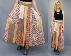 Vintage 80s 90s Patchwork Cotton Gauze Full Long Maxi Peasant Skirt Festival Boho Hippie Crinkle Gypsy Bohemian Semi Sheer India Ethnic Broomstick by BlueFridayVintage