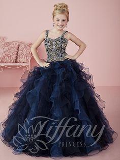 Tiffany Princess 13469 Navy Gold Beaded Little GIrl Pageant Dress. Flower  Girl DressesLittle ... 6b77e6909f13