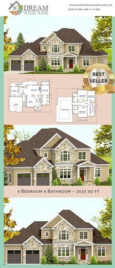 House Plans 4 Bedroom Craftsman Open Floor For 2019 Porch House Plans, 4 Bedroom House Plans, Dream House Plans, Custom Home Plans, Custom Homes, Craftsman Cottage, House Blueprints, Unique Architecture, Story House