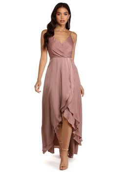 Elegant Dresses, Cute Dresses, Beautiful Dresses, Dress Outfits, Fashion Dresses, Dress Up, Wrap Dress Formal, High Low Formal Dresses, Semi Formal Dresses For Wedding