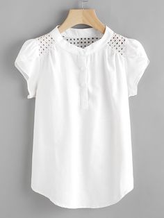SheIn offers Eyelet Embroidered Panel Petal Sleeve Blouse & more to fit your fashionable needs. Petal Sleeve, Ruffle Sleeve, Mode Shop, Blouse Online, Shirts Online, How To Roll Sleeves, Plus Size Blouses, Women's Blouses, White Blouses