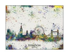 LONDON City Skyline London London Map England by WaterColorMaps, $18.50