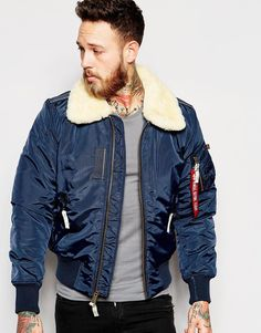 Alpha Industries   Alpha Industries Bomber Jacket with Sheep Collar In Blue at ASOS