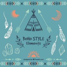 Sketchy boho style elements Free Vector