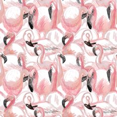 All the flamingos fabric by crumpetsandcrabsticks on Spoonflower - custom fabric