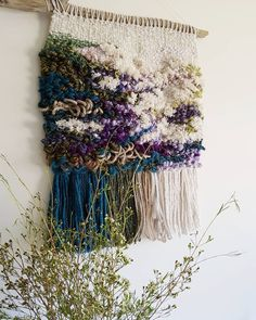 Chunky woven wall hanging in natural shades of green, blue, and purple Weaving Textiles, Weaving Art, Weaving Patterns, Tapestry Weaving, Loom Weaving, Hand Weaving, Purple Weave, Weaving Wall Hanging, Wall Hangings