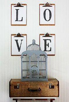 The Shabby Creek Cottage - simple valentine decor. Wow Could easily change these out for the season Diy Wall Art, Diy Art, Wall Decor, Clipboard Art, Poster Minimalista, Shabby Style, Shabby Chic, Mid-century Modern, Bird Cages