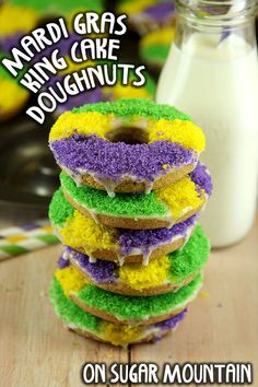 Mardi Gras King Cake Doughnuts - On Sugar Mountain