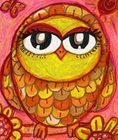 Owl Art Whimsical Owl Print Funny Owl by AGirlAnOwlAndACat on Etsy