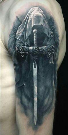 Vikinger Tattoo - Full Shoulder reaper tattoo - List of the most beautiful tattoo models Tattoos Masculinas, Bild Tattoos, Badass Tattoos, Skull Tattoos, Forearm Tattoos, Body Art Tattoos, Tattoos For Guys, Cool Tattoos, Tattoo Drawings