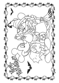 Disney Halloween Coloring Pages, Mickey Mouse Coloring Pages, Disney Coloring Pages, Adult Coloring Pages, Fall Coloring Pages, Coloring Pages For Kids, Coloring Books, Theme Halloween, Halloween Kids
